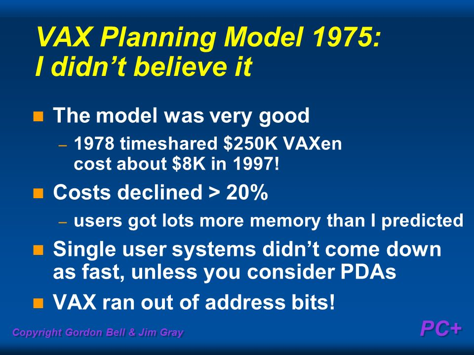 Copyright Gordon Bell & Jim Gray PC+ VAX Planning Model 1975: I didnt believe it The model was very good – 1978 timeshared $250K VAXen cost about $8K