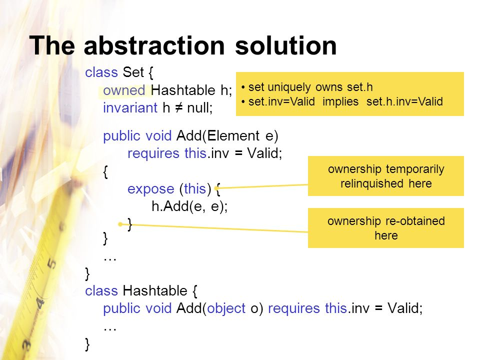 The abstraction solution class Set { owned Hashtable h; invariant h null; public void Add(Element e) requires this.inv = Valid; { expose (this) { h.Add(e, e);} … } class Hashtable { public void Add(object o) requires this.inv = Valid; … } set uniquely owns set.h set.inv=Valid implies set.h.inv=Valid ownership temporarily relinquished here ownership re-obtained here