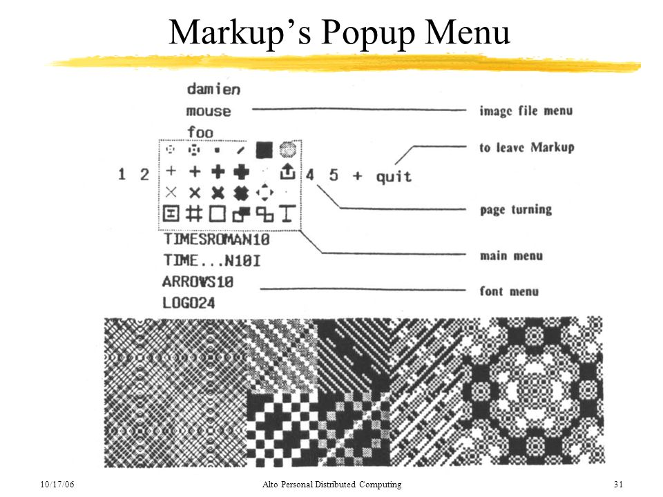 10/17/06Alto Personal Distributed Computing31 Markups Popup Menu