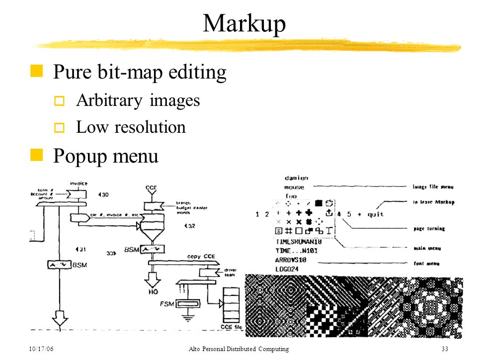 10/17/06Alto Personal Distributed Computing33 Markup nPure bit-map editing o Arbitrary images o Low resolution nPopup menu
