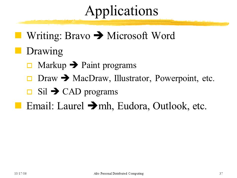 10/17/06Alto Personal Distributed Computing37 Applications nWriting: Bravo Microsoft Word nDrawing o Markup Paint programs o Draw MacDraw, Illustrator