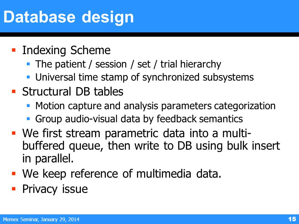 Memex Seminar, January 29, 2014 15 Database design Indexing Scheme The patient / session / set / trial hierarchy Universal time stamp of synchronized