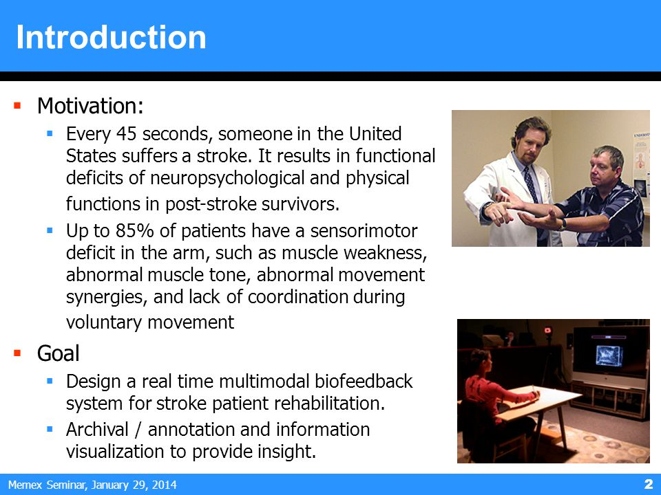 Memex Seminar, January 29, Introduction Motivation: Every 45 seconds, someone in the United States suffers a stroke.