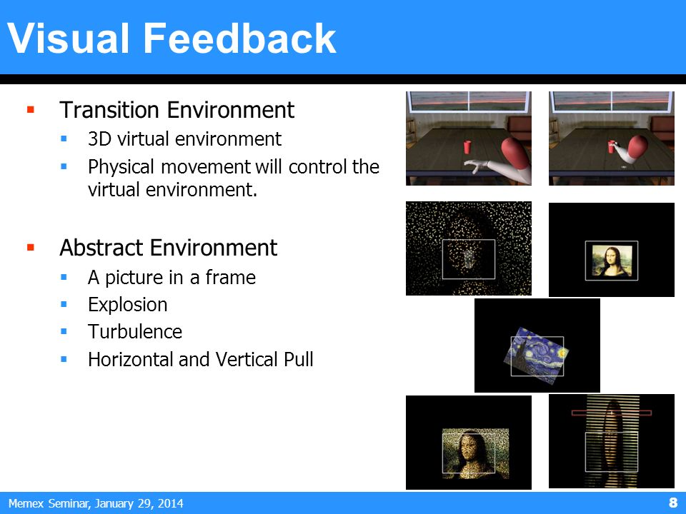 Memex Seminar, January 29, Visual Feedback Transition Environment 3D virtual environment Physical movement will control the virtual environment.