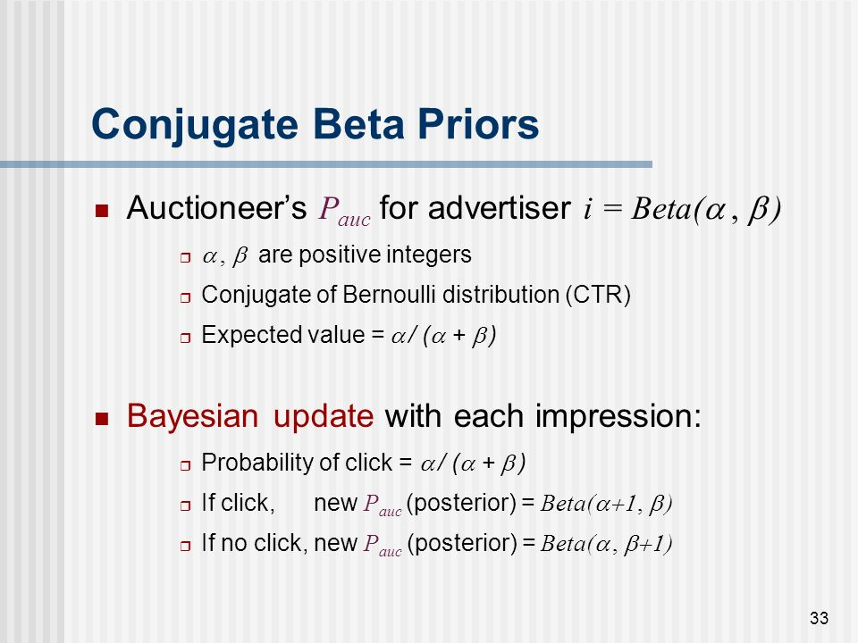 32 Conjugate Beta Priors Auctioneers P auc for advertiser i = Beta(, ), are positive integers Conjugate of Bernoulli distribution (CTR) Expected value