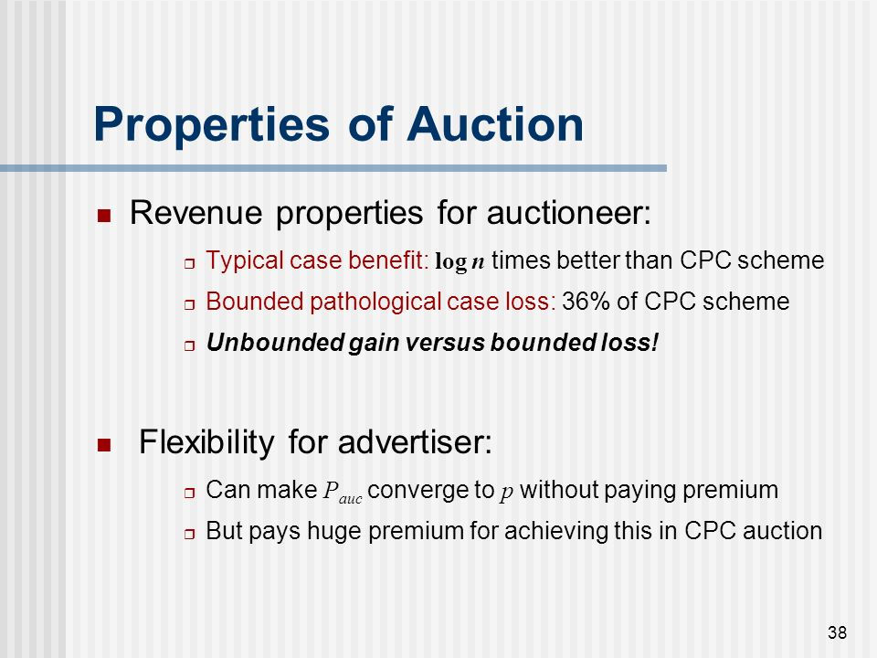 37 Advertiser Certain of CTR Advertiser Auctioneer (Search Engine) CTR estimate Q = / ( + ) True underlying CTR = p Knows p P auc = Beta(, ) Per-impre
