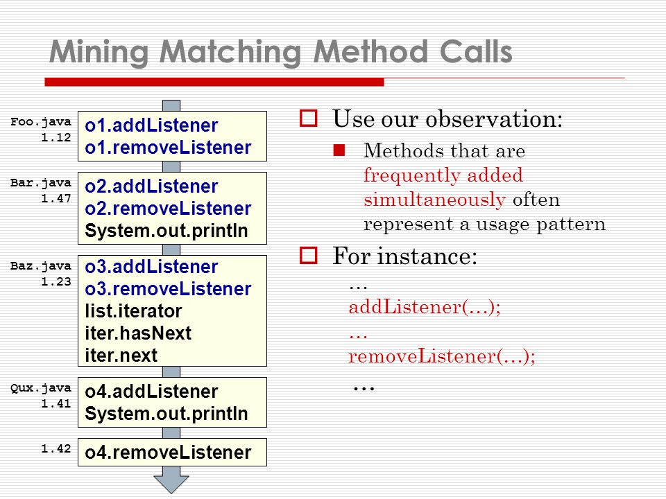 Mining Matching Method Calls Use our observation: Methods that are frequently added simultaneously often represent a usage pattern For instance: … addListener(…); … removeListener(…); … o1.addListener o1.removeListener o2.addListener o2.removeListener System.out.println o3.addListener o3.removeListener list.iterator iter.hasNext iter.next o4.addListener System.out.println o4.removeListener Foo.java 1.12 Bar.java 1.47 Baz.java 1.23 Qux.java 1.41 1.42
