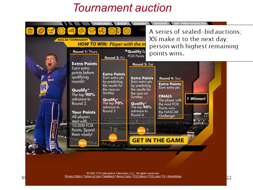 Stanford, April 2007BAGT Symposium22 Tournament auction A series of sealed-bid auctions; X% make it to the next day; person with highest remaining points wins.