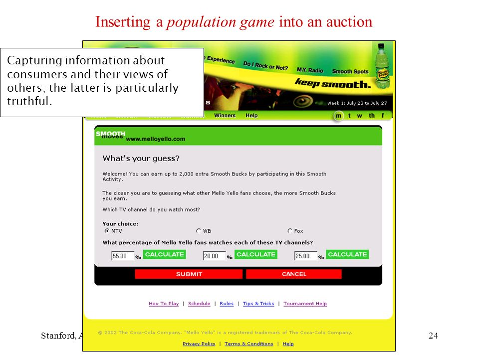 Stanford, April 2007BAGT Symposium24 Inserting a population game into an auction Capturing information about consumers and their views of others; the latter is particularly truthful.