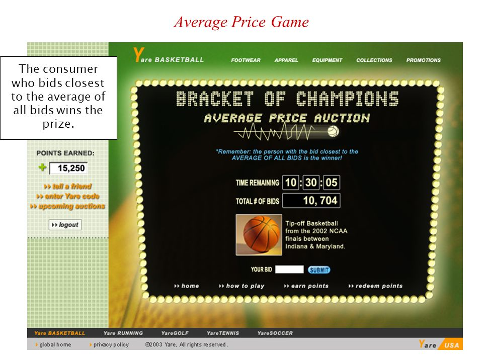 Stanford, April 2007BAGT Symposium25 Average Price Game The consumer who bids closest to the average of all bids wins the prize.