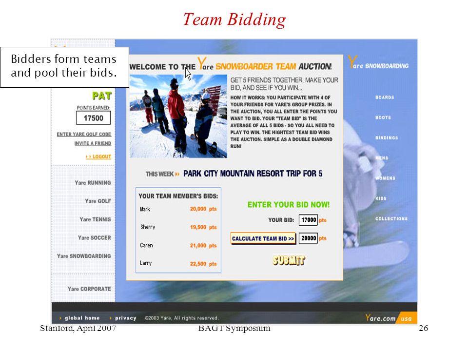 Stanford, April 2007BAGT Symposium26 Team Bidding Bidders form teams and pool their bids.