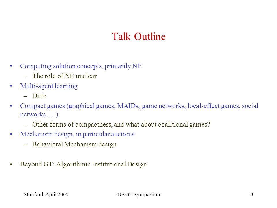Stanford, April 2007BAGT Symposium34 Results Multiple versions –Single prof.