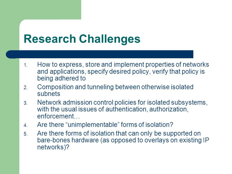 Research Challenges 1.