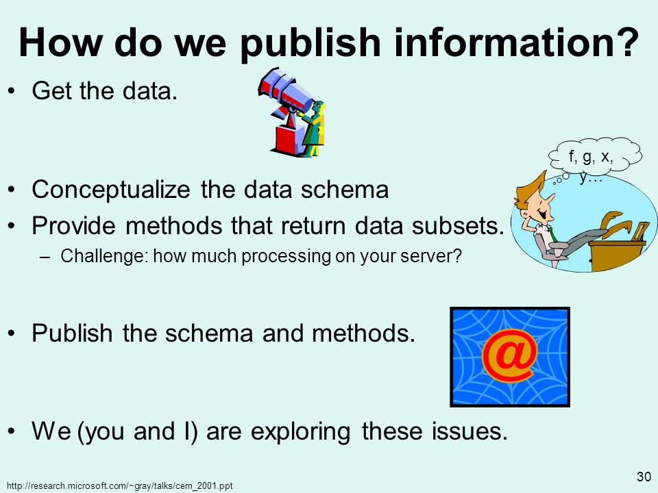 http://research.microsoft.com/~gray/talks/cern_2001.ppt 30 How do we publish information.