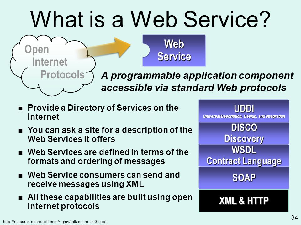 http://research.microsoft.com/~gray/talks/cern_2001.ppt 34 What is a Web Service SOAP Web Service consumers can send and receive messages using XML WSDL Contract Language Web Services are defined in terms of the formats and ordering of messages DISCODiscovery You can ask a site for a description of the Web Services it offers All these capabilities are built using open Internet protocols XML & HTTP Open Internet Protocols Web Service A programmable application component accessible via standard Web protocols UDDI Universal Description, Design, and Integration Provide a Directory of Services on the Internet
