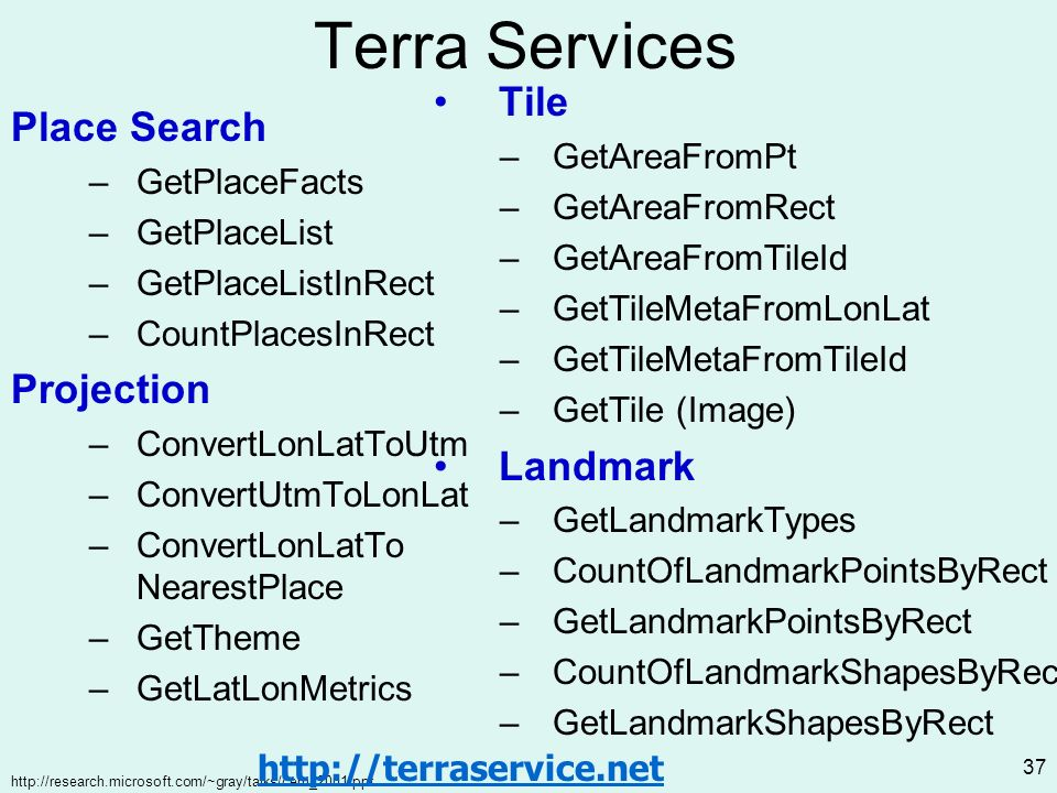 http://research.microsoft.com/~gray/talks/cern_2001.ppt 37 Terra Services Place Search –GetPlaceFacts –GetPlaceList –GetPlaceListInRect –CountPlacesInRect Projection –ConvertLonLatToUtm –ConvertUtmToLonLat –ConvertLonLatTo NearestPlace –GetTheme –GetLatLonMetrics Tile –GetAreaFromPt –GetAreaFromRect –GetAreaFromTileId –GetTileMetaFromLonLat –GetTileMetaFromTileId –GetTile (Image) Landmark –GetLandmarkTypes –CountOfLandmarkPointsByRect –GetLandmarkPointsByRect –CountOfLandmarkShapesByRect –GetLandmarkShapesByRect http://terraservice.net