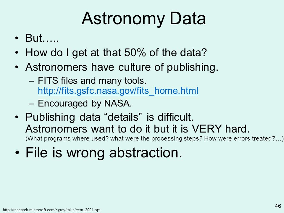 http://research.microsoft.com/~gray/talks/cern_2001.ppt 46 Astronomy Data But…..