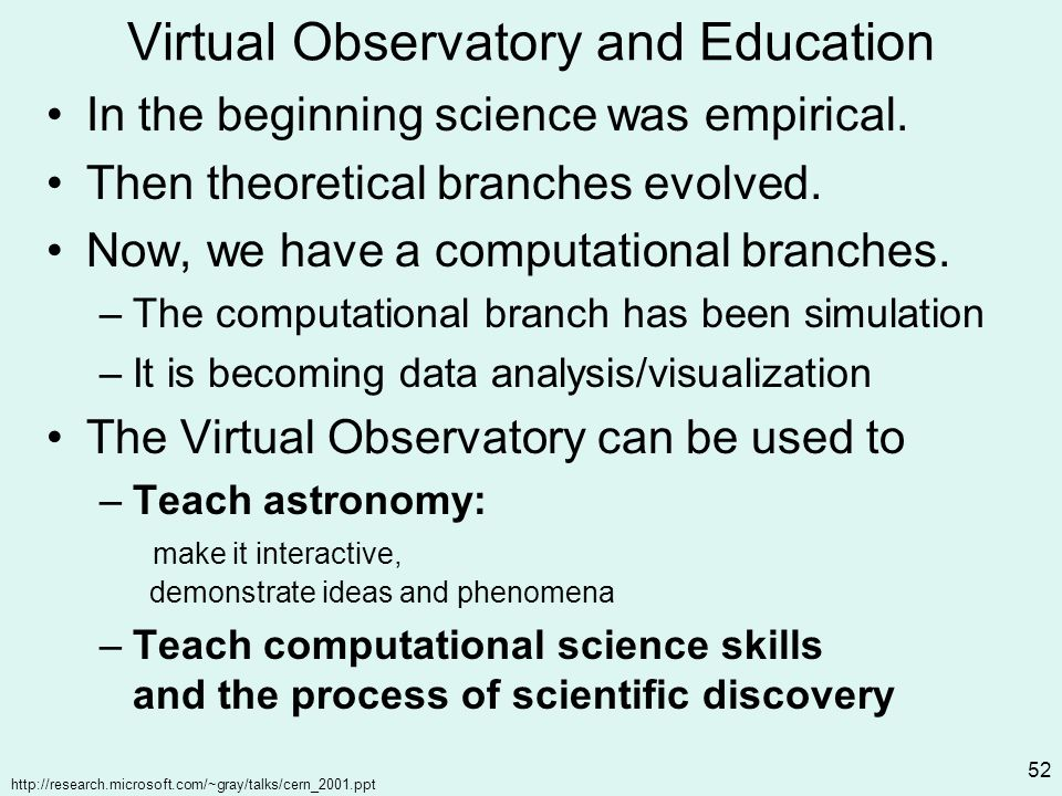 http://research.microsoft.com/~gray/talks/cern_2001.ppt 52 Virtual Observatory and Education In the beginning science was empirical.