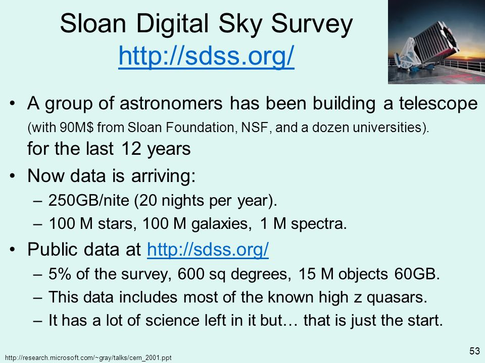 http://research.microsoft.com/~gray/talks/cern_2001.ppt 53 Sloan Digital Sky Survey http://sdss.org/ http://sdss.org/ A group of astronomers has been building a telescope (with 90M$ from Sloan Foundation, NSF, and a dozen universities).