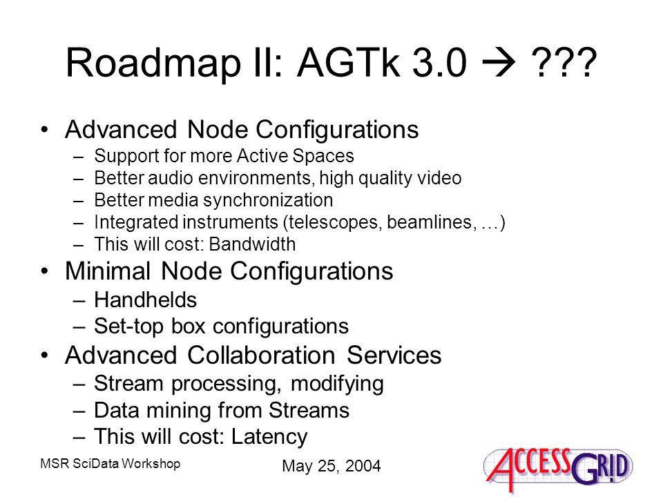 MSR SciData Workshop May 25, 2004 Roadmap II: AGTk 3.0 .