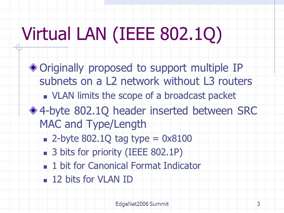 EdgeNet2006 Summit3 Virtual LAN (IEEE 802.1Q) Originally proposed to support multiple IP subnets on a L2 network without L3 routers VLAN limits the scope of a broadcast packet 4-byte 802.1Q header inserted between SRC MAC and Type/Length 2-byte 802.1Q tag type = 0x8100 3 bits for priority (IEEE 802.1P) 1 bit for Canonical Format Indicator 12 bits for VLAN ID