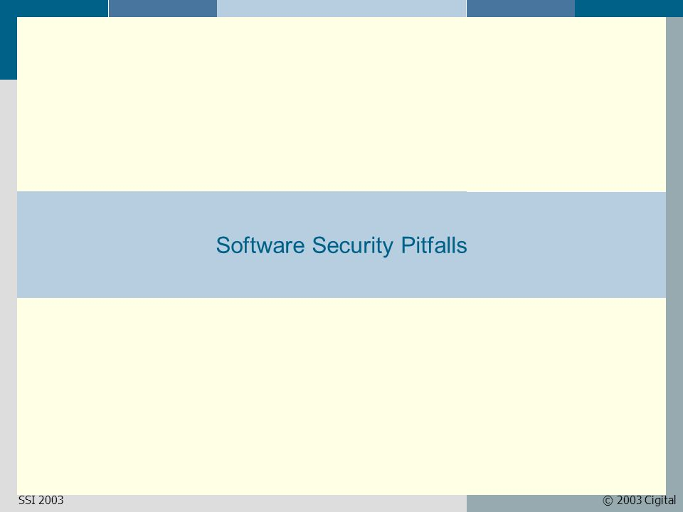 © 2003 CigitalSSI 2003 Software Security Pitfalls