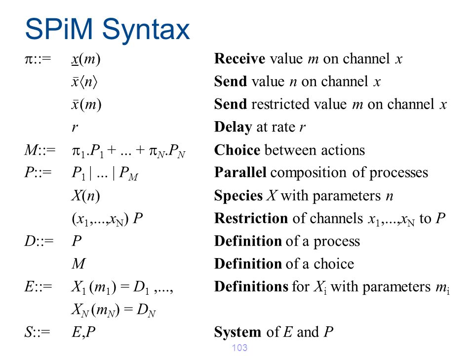SPiM Syntax ::=x(m) Receive value m on channel x x _ n Send value n on channel x x _ (m) Send restricted value m on channel x rDelay at rate r M::= 1.
