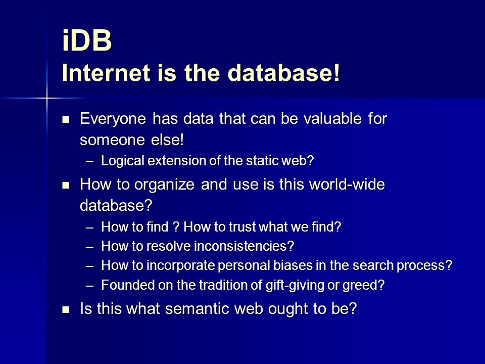 iDB Internet is the database.Everyone has data that can be valuable for someone else.