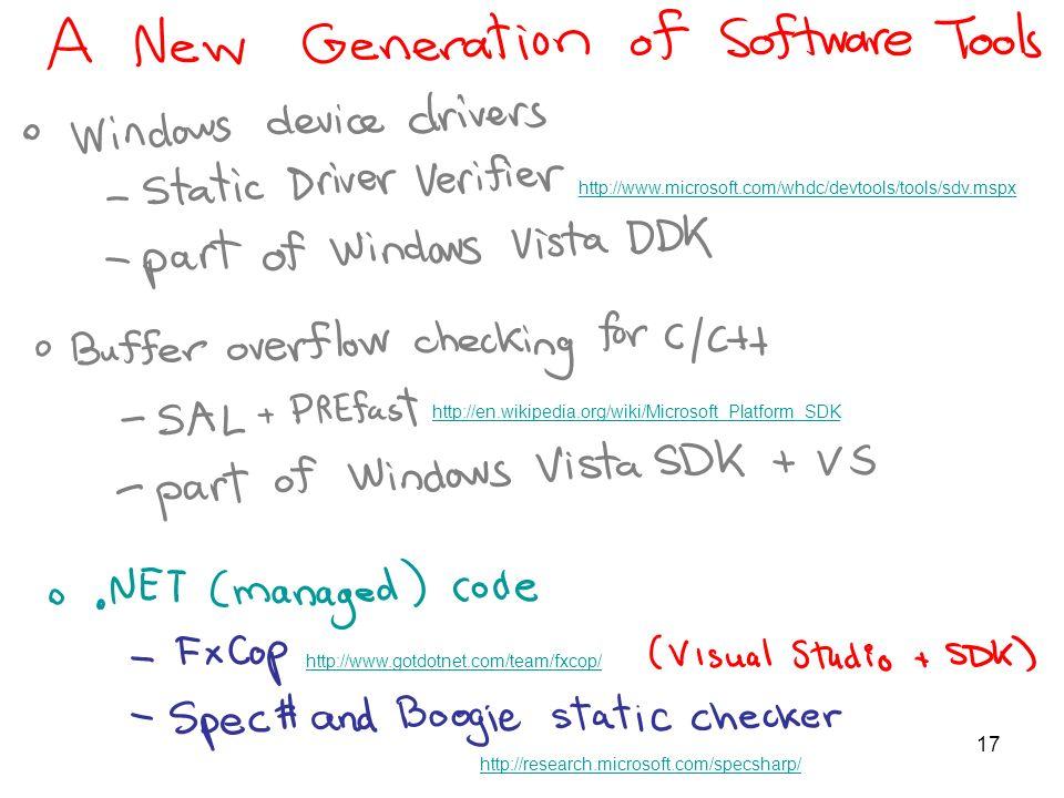 17 http://en.wikipedia.org/wiki/Microsoft_Platform_SDK http://www.microsoft.com/whdc/devtools/tools/sdv.mspx http://www.gotdotnet.com/team/fxcop/ http://research.microsoft.com/specsharp/