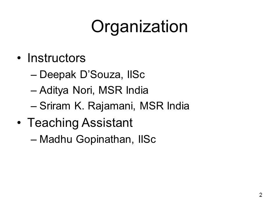 2 Organization Instructors –Deepak DSouza, IISc –Aditya Nori, MSR India –Sriram K.