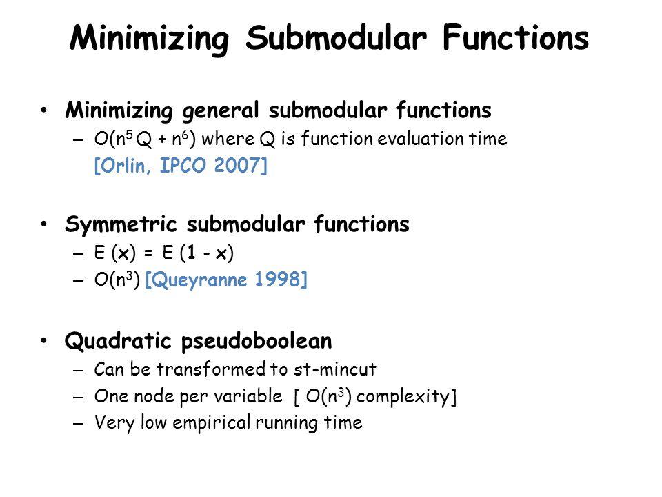 Minimizing Submodular Functions Minimizing general submodular functions – O(n 5 Q + n 6 ) where Q is function evaluation time [Orlin, IPCO 2007] Symme