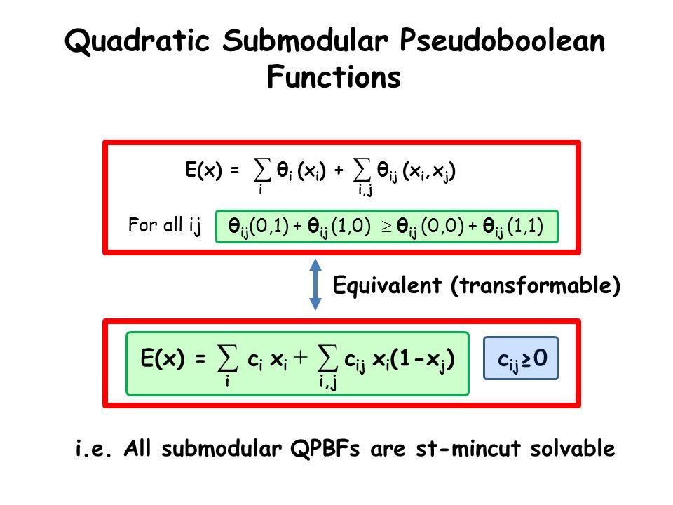 E(x) = θ i (x i ) + θ ij (x i,x j ) i,ji Quadratic Submodular Pseudoboolean Functions θ ij (0,1) + θ ij (1,0) θ ij (0,0) + θ ij (1,1)For all ij E(x) =