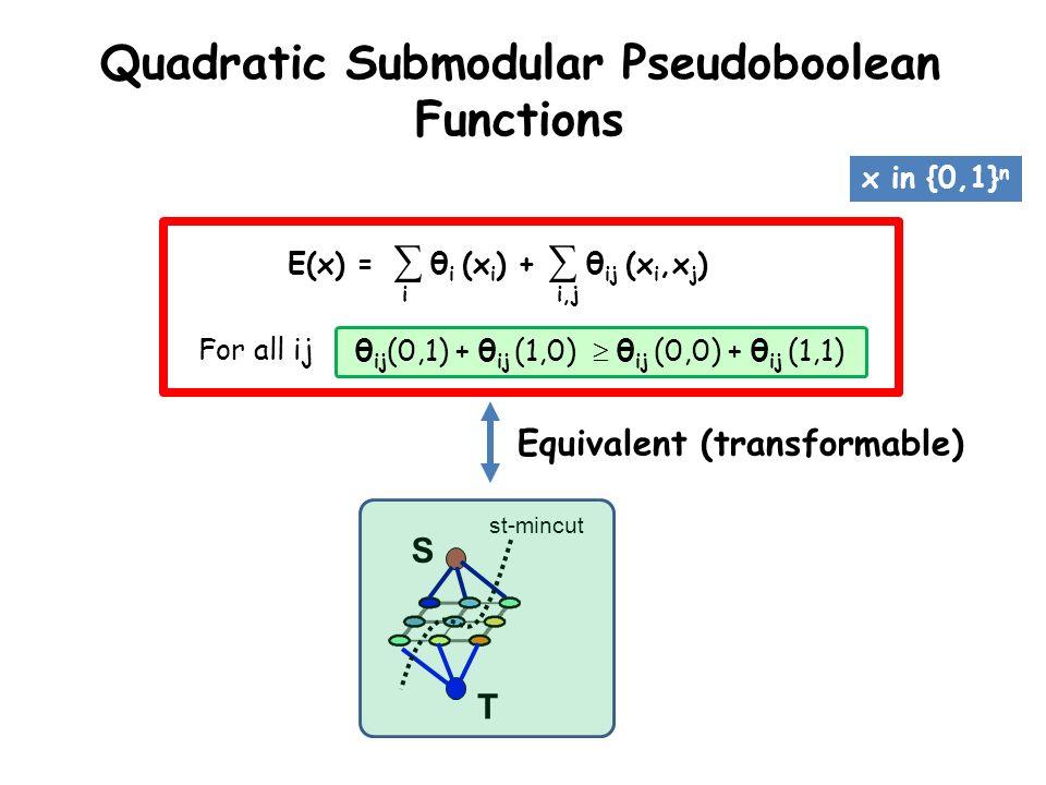 E(x) = θ i (x i ) + θ ij (x i,x j ) i,ji Quadratic Submodular Pseudoboolean Functions θ ij (0,1) + θ ij (1,0) θ ij (0,0) + θ ij (1,1)For all ij Equiva