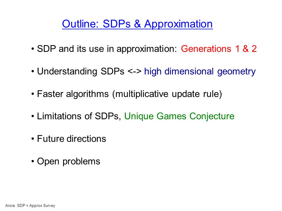 Arora: SDP + Approx Survey Take home message… SDP gives best approximation known for host of NP-hard problems (and algorithms can be made highly efficient): Vertex Cover Sparsest Cut and most graph partitioning problems Graph coloring Max-cut, and every Constraint Satisfaction Problem….