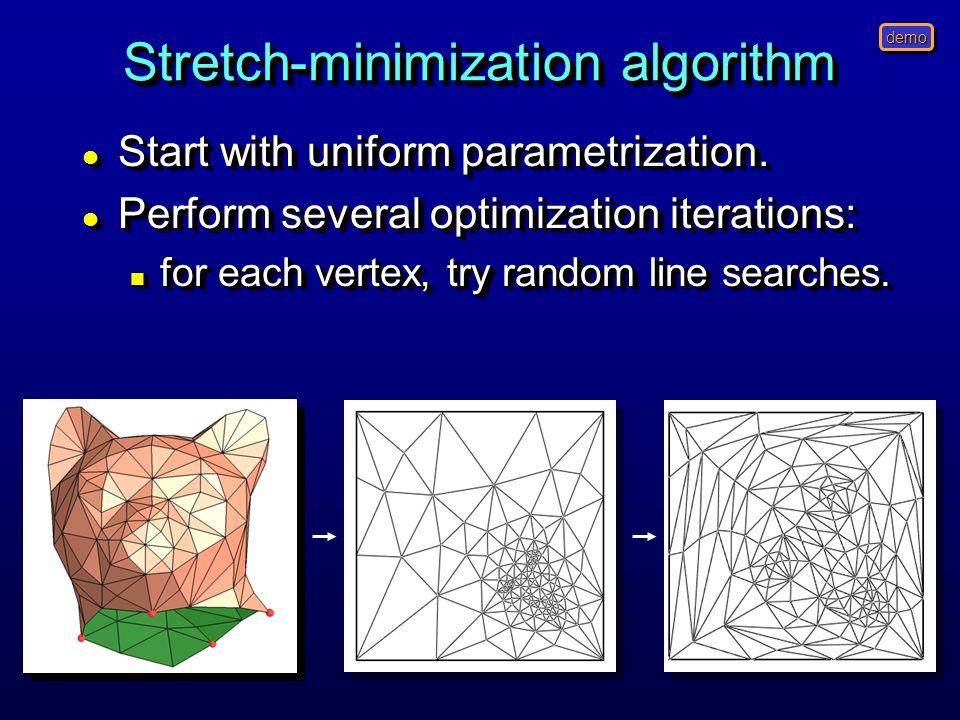 Stretch-minimization algorithm l Start with uniform parametrization.