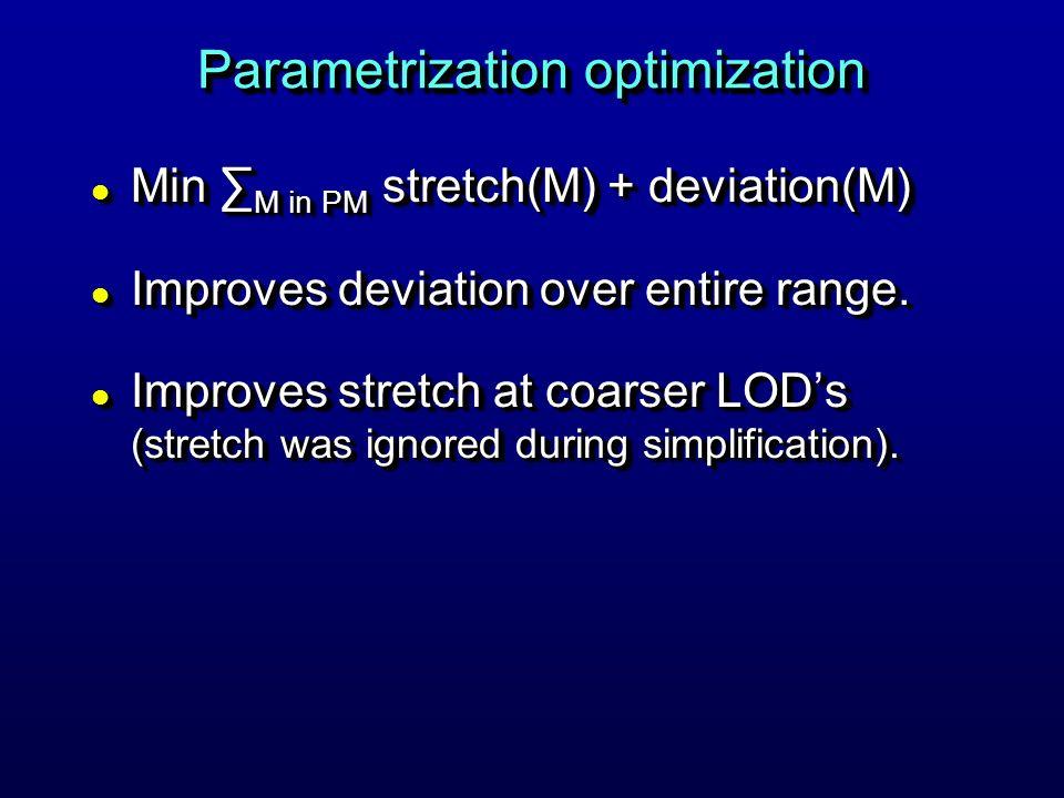 Parametrization optimization l Min M in PM stretch(M) + deviation(M) l Improves deviation over entire range.
