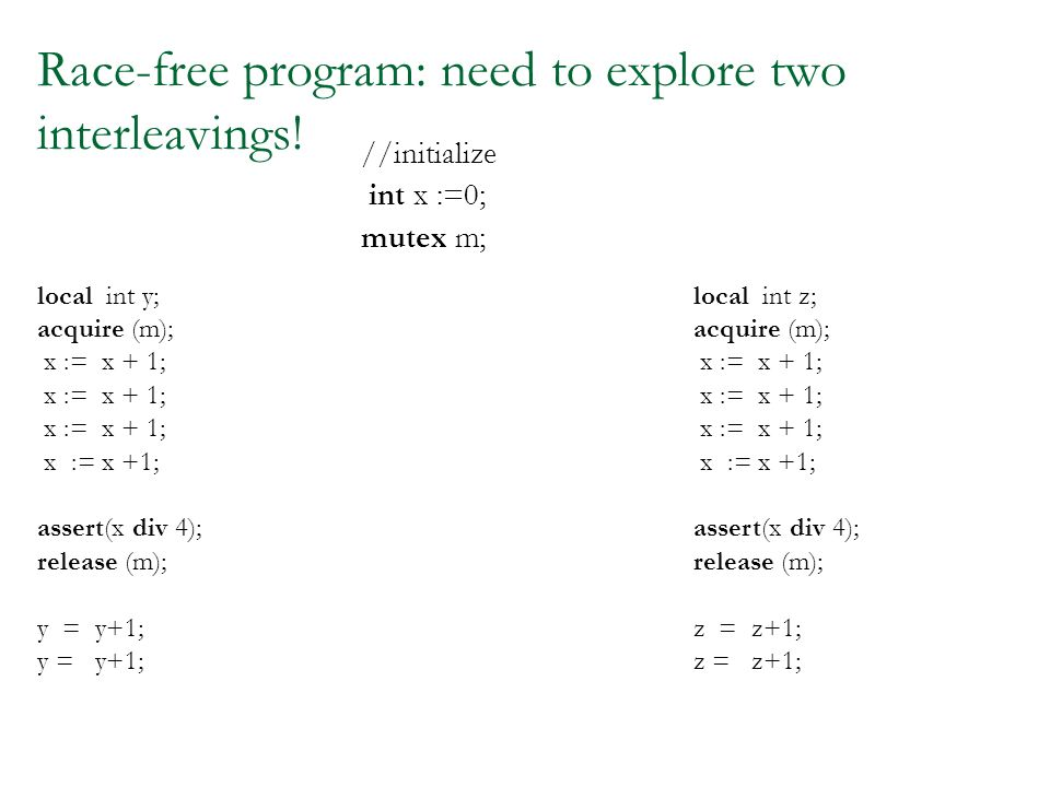 Race-free program: need to explore two interleavings.