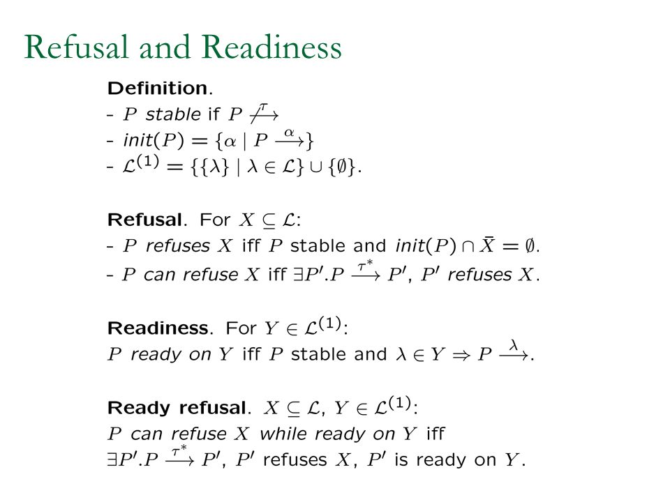 Refusal and Readiness