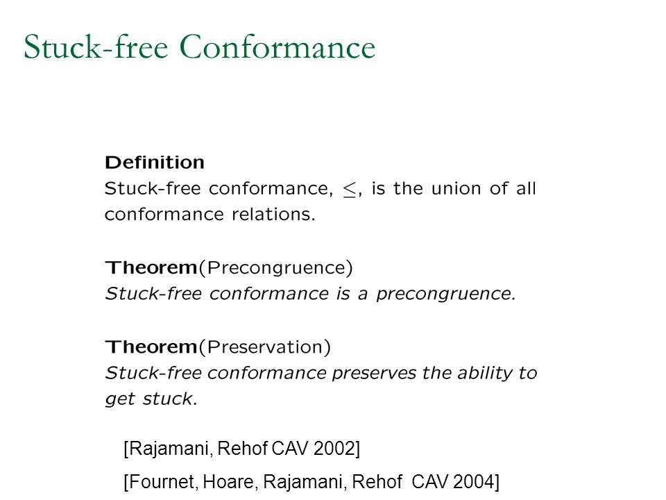 Stuck-free Conformance [Rajamani, Rehof CAV 2002] [Fournet, Hoare, Rajamani, Rehof CAV 2004]