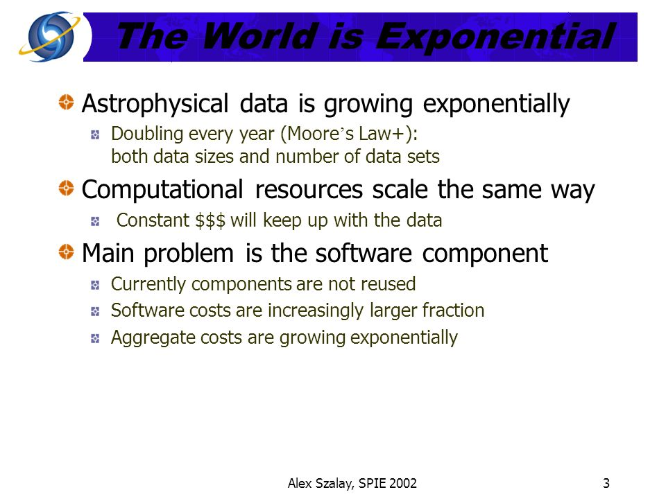 Alex Szalay, SPIE 20023 The World is Exponential Astrophysical data is growing exponentially Doubling every year (Moore s Law+): both data sizes and number of data sets Computational resources scale the same way Constant $$$ will keep up with the data Main problem is the software component Currently components are not reused Software costs are increasingly larger fraction Aggregate costs are growing exponentially