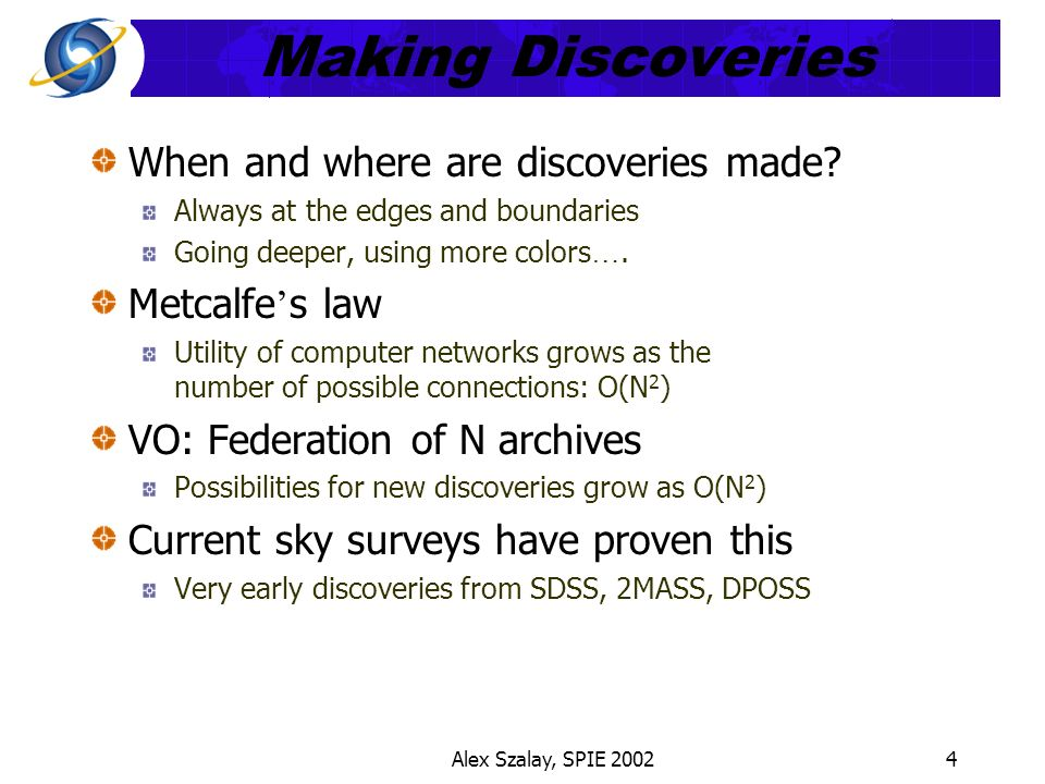Alex Szalay, SPIE 20024 Making Discoveries When and where are discoveries made.