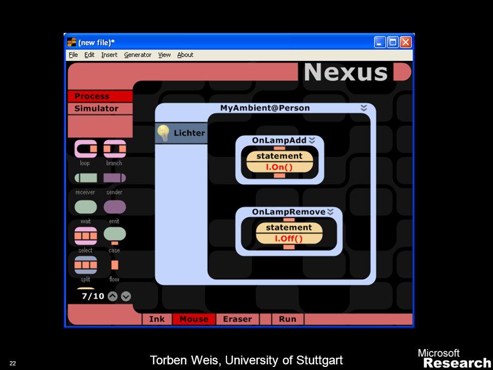 21 Integrating a Context Server 2/2 Context ServerApplication(s)Context Simulator DB Raw Sensor DataContext Events Context Requests3D Data Torben Weis, University of Stuttgart