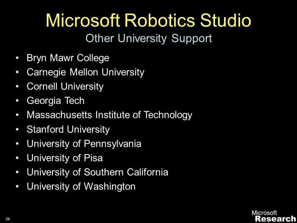 28 Microsoft Robotics Studio Services and Samples Over 15 tutorials –VB.Net, C#, JScript Support for –LEGO® Mindstorms® RCX –LEGO® Mindstorms® NXT –fischertechnik® –MobileRobots Pioneer P3