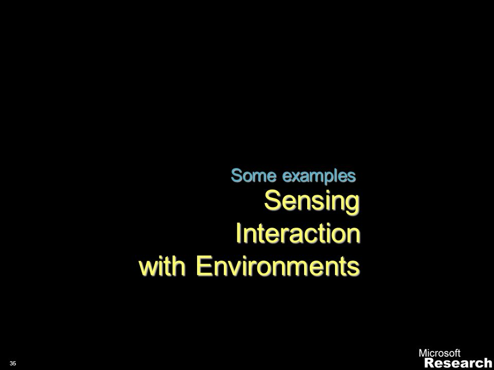 34 Human Centred, Affects and Emotions 1/29/201434Microsoft Internal Only Enhance communication through compelling, fun and emotional interactions wit