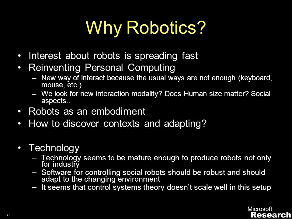 38 Sensing Interaction with Robots An example
