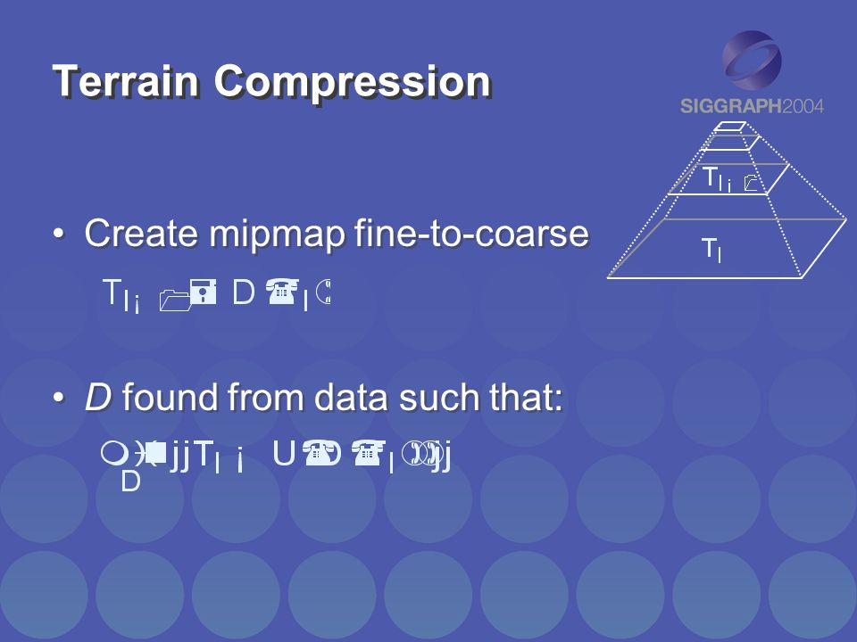 Terrain Compression Create mipmap fine-to-coarse D found from data such that: Create mipmap fine-to-coarse D found from data such that: