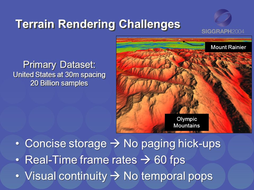 Terrain Rendering Challenges Concise storage No paging hick-ups Real-Time frame rates 60 fps Visual continuity No temporal pops Concise storage No pag