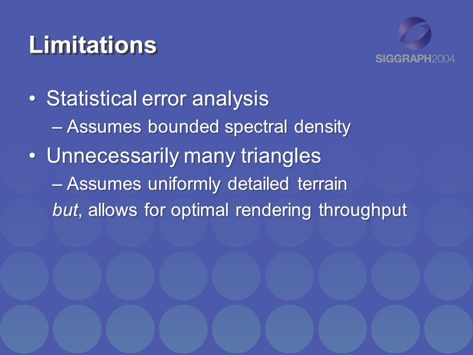Limitations Statistical error analysis –Assumes bounded spectral density Unnecessarily many triangles –Assumes uniformly detailed terrain but, allows