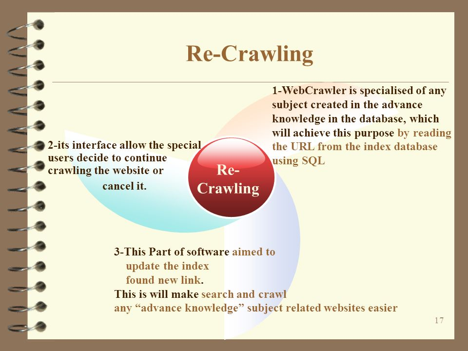 17 Re-Crawling Re- Crawling 2-its interface allow the special users decide to continue crawling the website or cancel it.