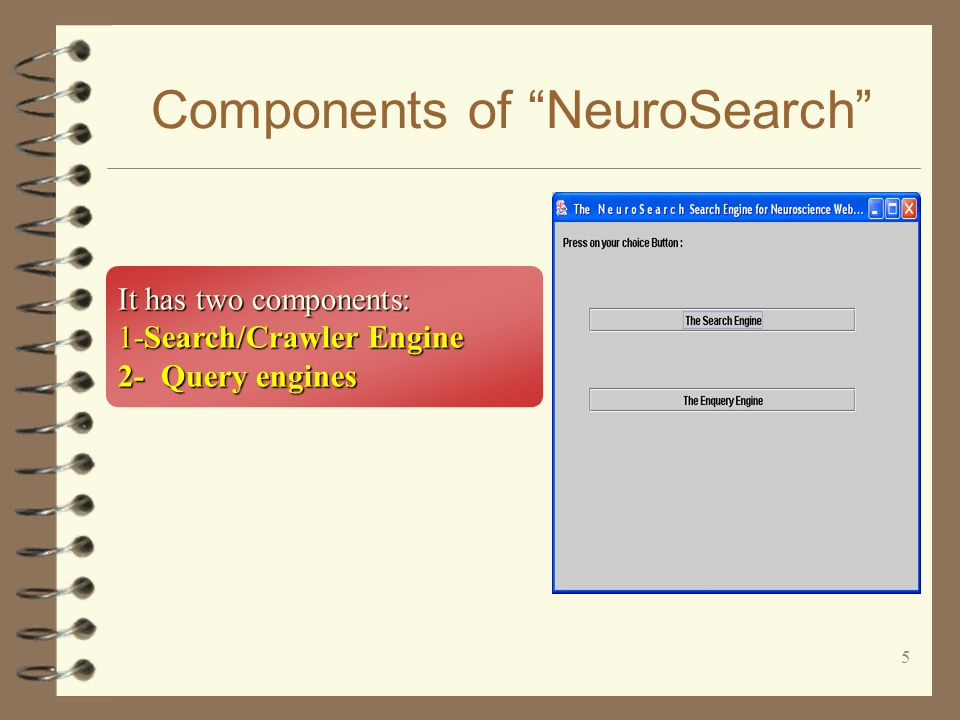 5 Components of NeuroSearch It has two components: 1-Search/Crawler Engine 2- Query engines